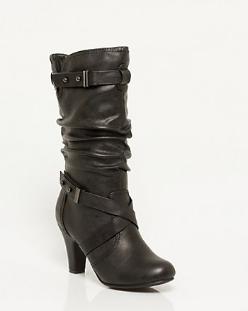 Leather-like Mid Calf Ruched Boot