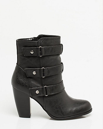 Leather-like Strappy Ankle Boot