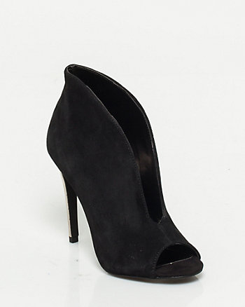 Nubuck Leather Open Toe Shootie