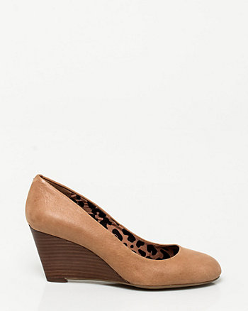 Leather Round Toe Wedge