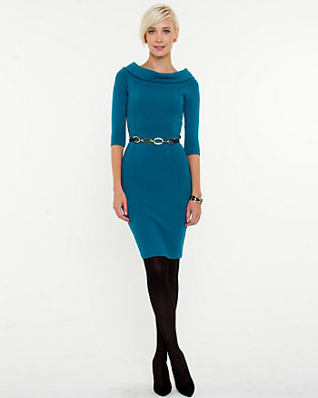 Viscose Blend Boat Neck Dress