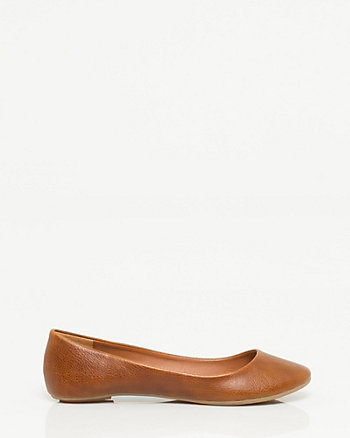 Leather-Like Ballerina Flat