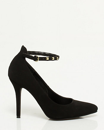 Leather-like Stud Ankle Strap Pump