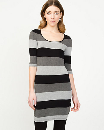 Stripe Knit Scoop Neck Tunic