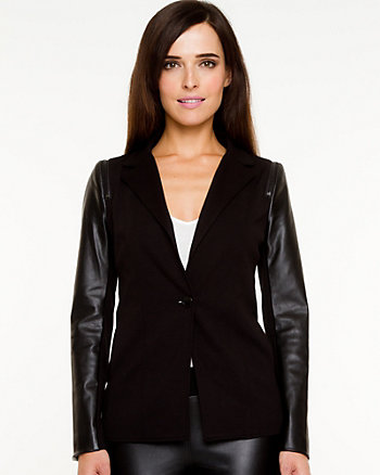 Ponte Knit & Leather-like Blazer