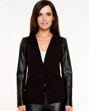 Ponte Knit & Leather-like Blazer