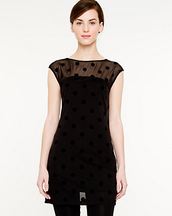 Polka Dot Mesh Knit Top