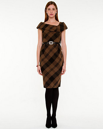 Plaid Split Cowl Neck Dress