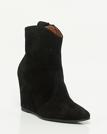 Spanish Made Suede Wedge Ankle Boot