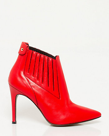 Italian Made Leather Pointy Toe Bootie