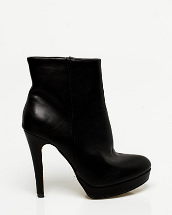Leather-like Platform Ankle Boot