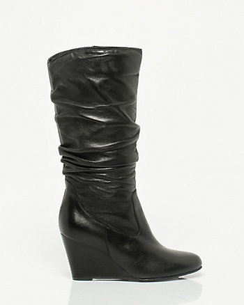 Leather Ruched Wedge Boot