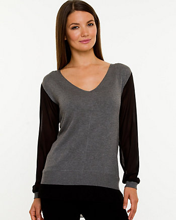 Knit & Chiffon V-neck Sweater