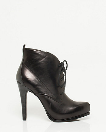 Leather-like Lace up Ankle Boot