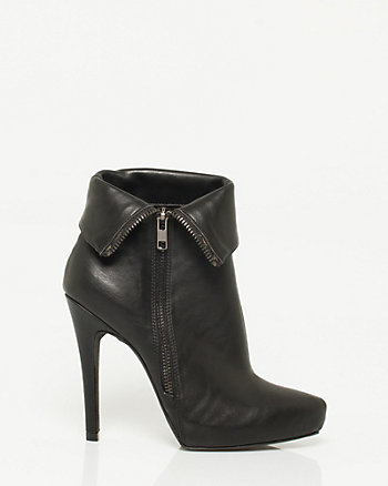 Leather-like Foldover Bootie