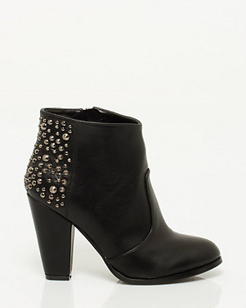 Leather-like Studded Bootie