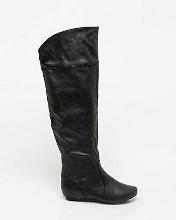 Leather-like Over-the-Knee Wedge Boot