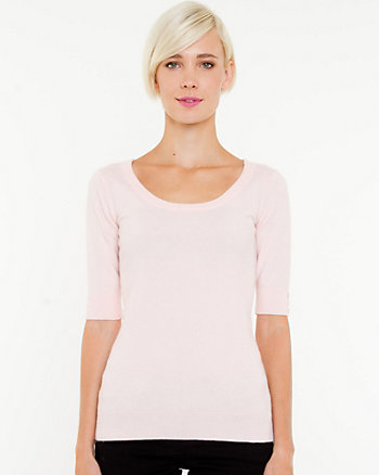 Angora Blend Short Sleeve Sweater