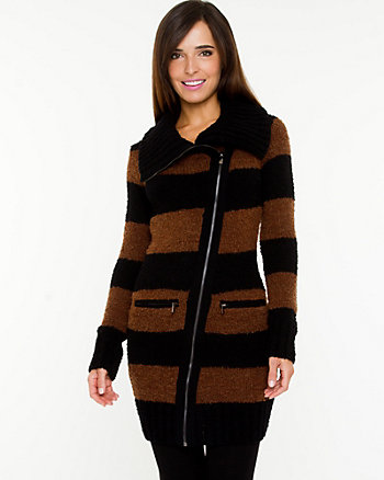 Bouclé Stripe Sweater Coat
