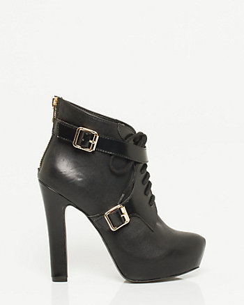 Leather-like Lace-up Platform Bootie