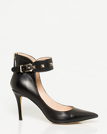 Leather-like Ankle Strap Pointy Toe Pump