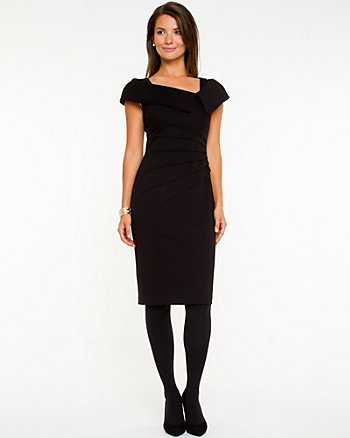 Knit Split Cowl Neck Dress