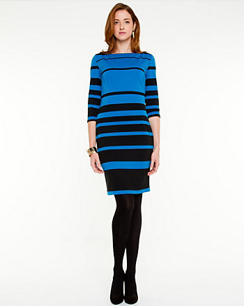Stripe Knit Boat Neck Dress