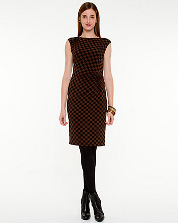 Check Print Knit Fitted Dress