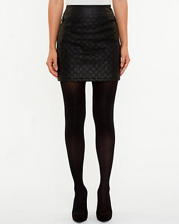 Quilted Leather-like Mini Skirt