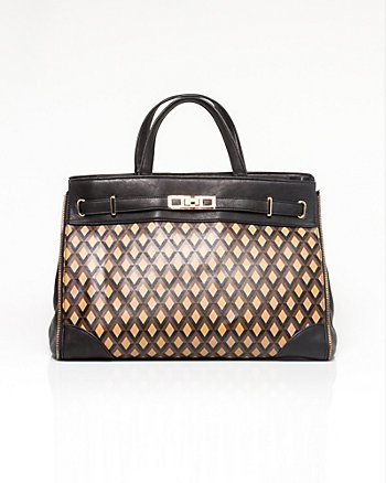 Leather-like Diamond Print Bag