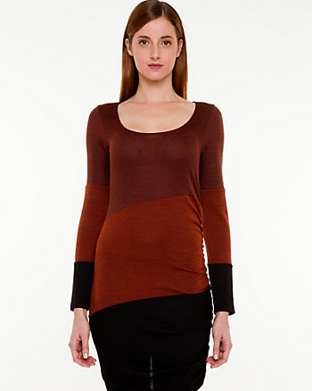 Colour Block Asymmetrical Knit Top
