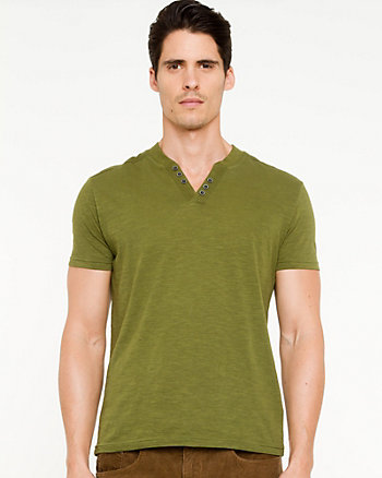 Semi-fitted Henley T-shirt