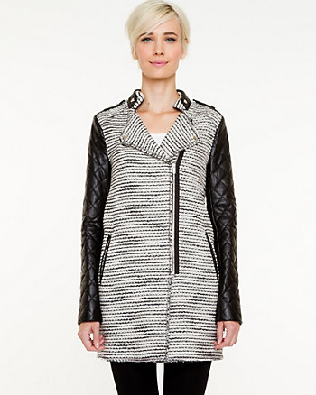 Bouclé & Leather-Like Asymmetrical Coat