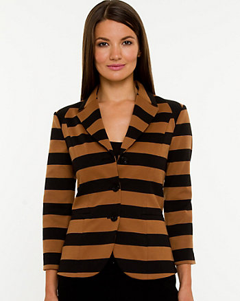 Stripe Ponte Knit 3/4 Sleeve Blazer