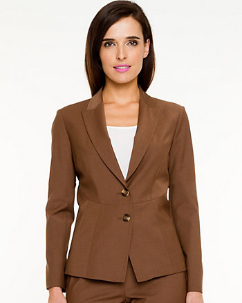 Tropical Wool Fitted Blazer