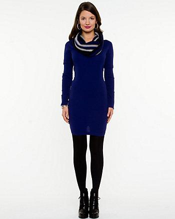 Knit Cowl Neck Sweater Dress