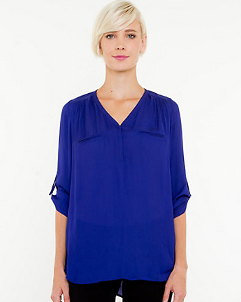 Silky V-neck Pull-on Blouse