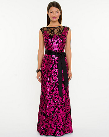 Lace Illusion Sequin Gown