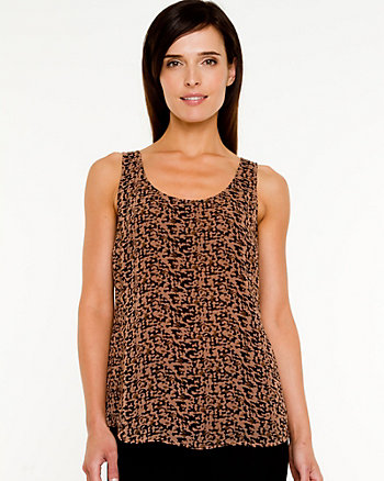 Chiffon Abstract Print Scoop Neck Blouse