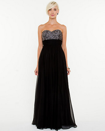 Chiffon Embellished Sweetheart Gown