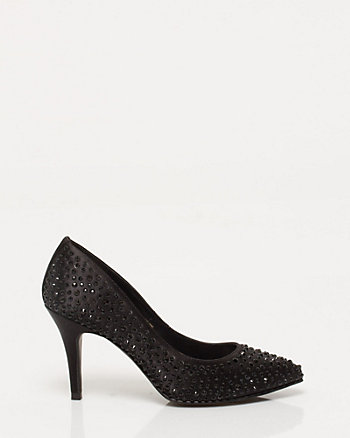 Jewel Embellished Satin Encrusted Pump