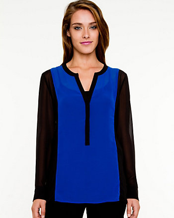 Chiffon Colour Block Henley Blouse