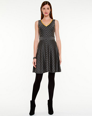 Ponte Knit Stripe Fit & Flare Dress