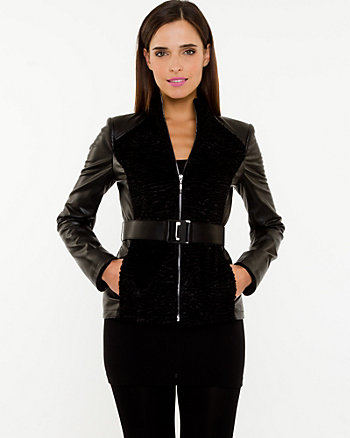 Faux Fur & Leather-like Jacket