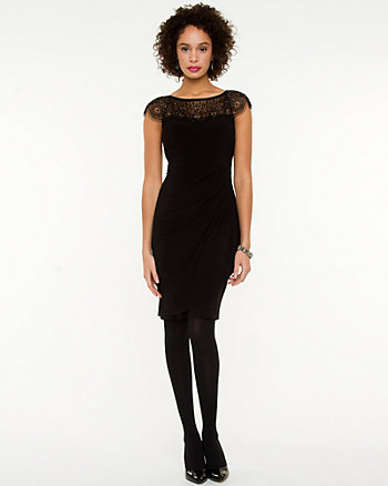 Beaded Illusion Neckline Dress