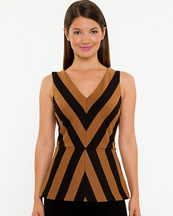 Ponte Stripe Peplum Top