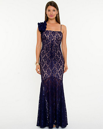 Sequin One Shoulder Gown