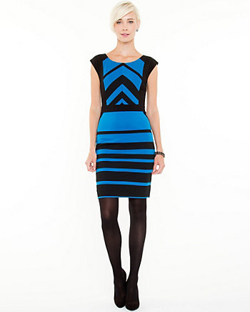 Variegated Stripe Ponte Knit Dress