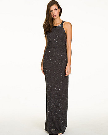 Beaded Georgette Halter Gown