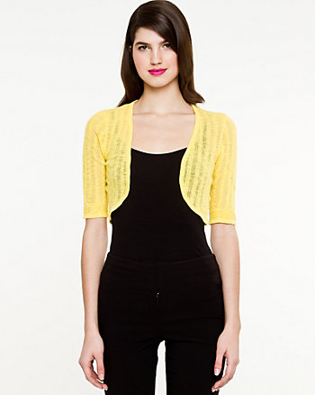 Pointelle 3/4 Sleeve Shrug